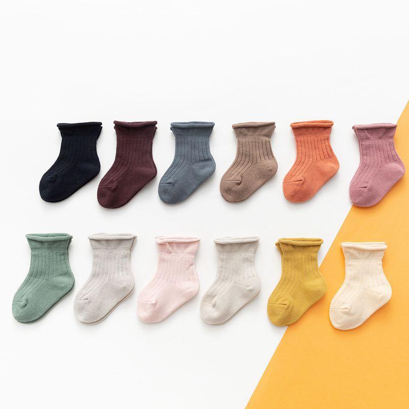 От 0 до 24 месяцев, 12 цветов, осенне-зимние теплые носки для младенцев, детские носки из чесаного хлопка для мальчиков и девочек, мягкие теплые ...