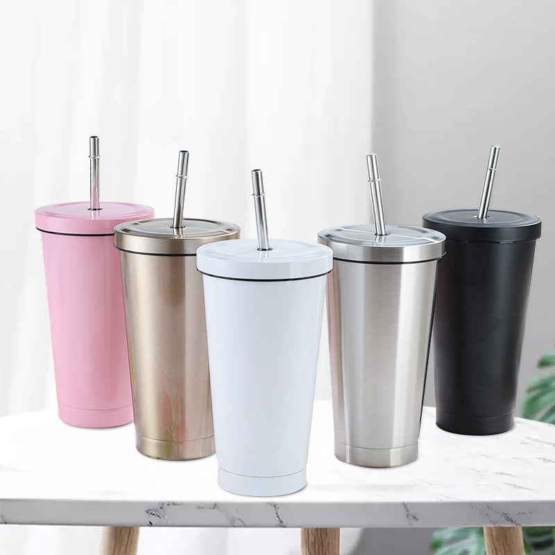 Straw Cup Stainless Steel 304 Double-Layer Vacuum Insulation Coffee Cup Car Portable Water Cup