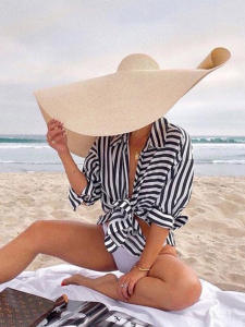Sun-Hat Beach-Hats Oversized Summer Brim Folded Black 15-Colors Big NH974 Papyrus Female