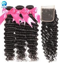 TTHAIR Deep Wave Bundles with Closure Brazilian Hair Weave Bundles with Closure Human