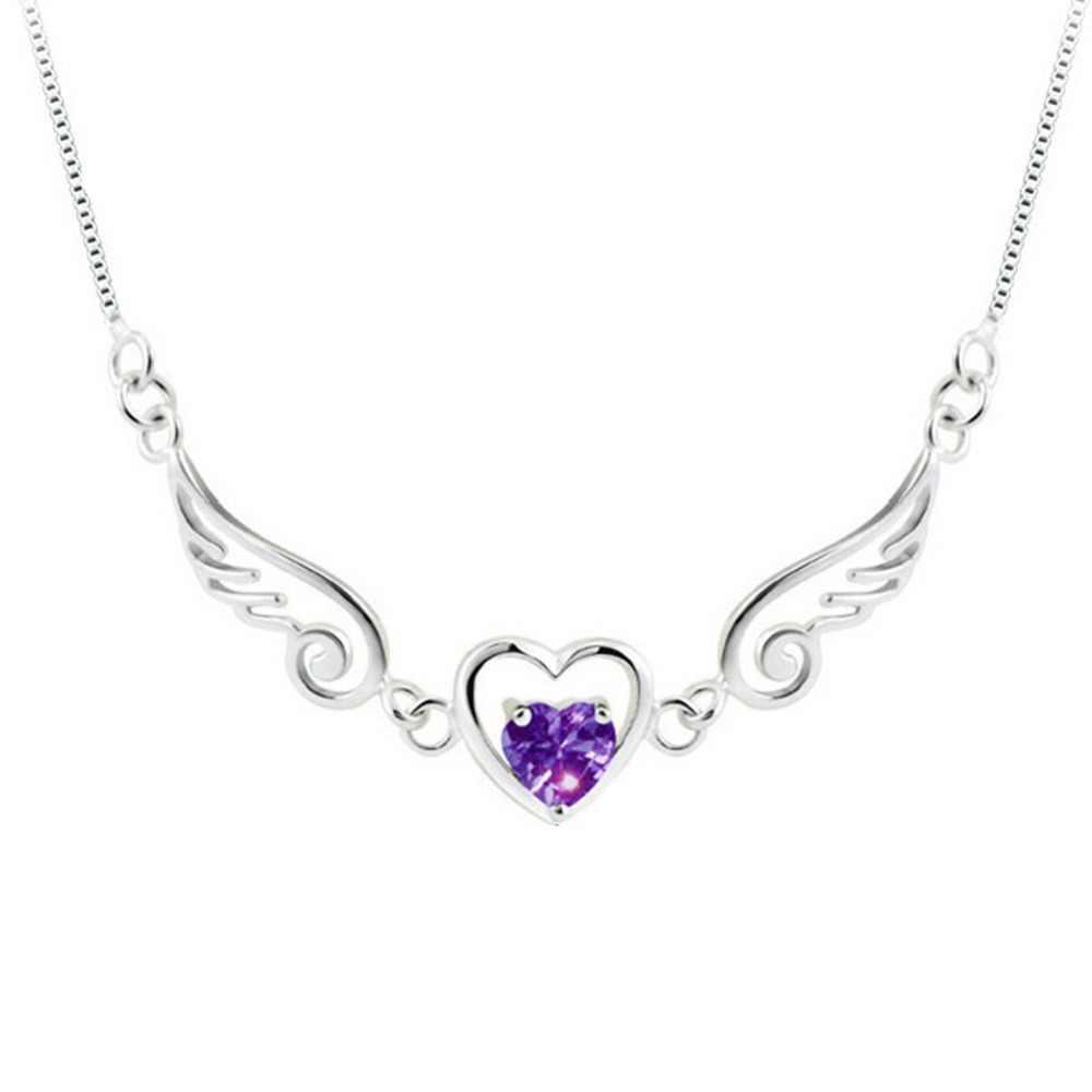 Nowy anioł skrzydło miłość wisiorek w kształcie serca naszyjnik kolor fioletowy biały Drop Shipping Trendy urocze biżuteria