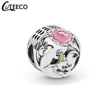 CUTEECO 2019 New Elephant Mother And Child Enamel Charms Beads Fits Original Pandora Charm Bracelet Women Jewelry Accessories