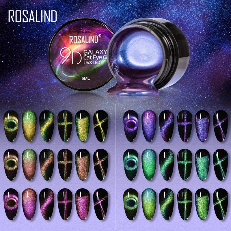 Магнитный Гель-лак ROSALIND 9D кошачий глаз УФ светодиодный набор для маникюра базовый топ для ногтей гель-Лаки гибридные Лаки магнитный гель дл...