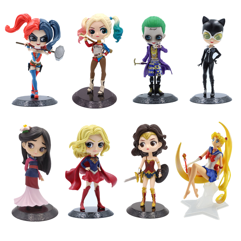 Sailor Moon Harley Quinn The Joker Mulan Wonder Woman Cat Woman Action Figures Toys 14cm PVC Model Kids Birthday Christmas Gift
