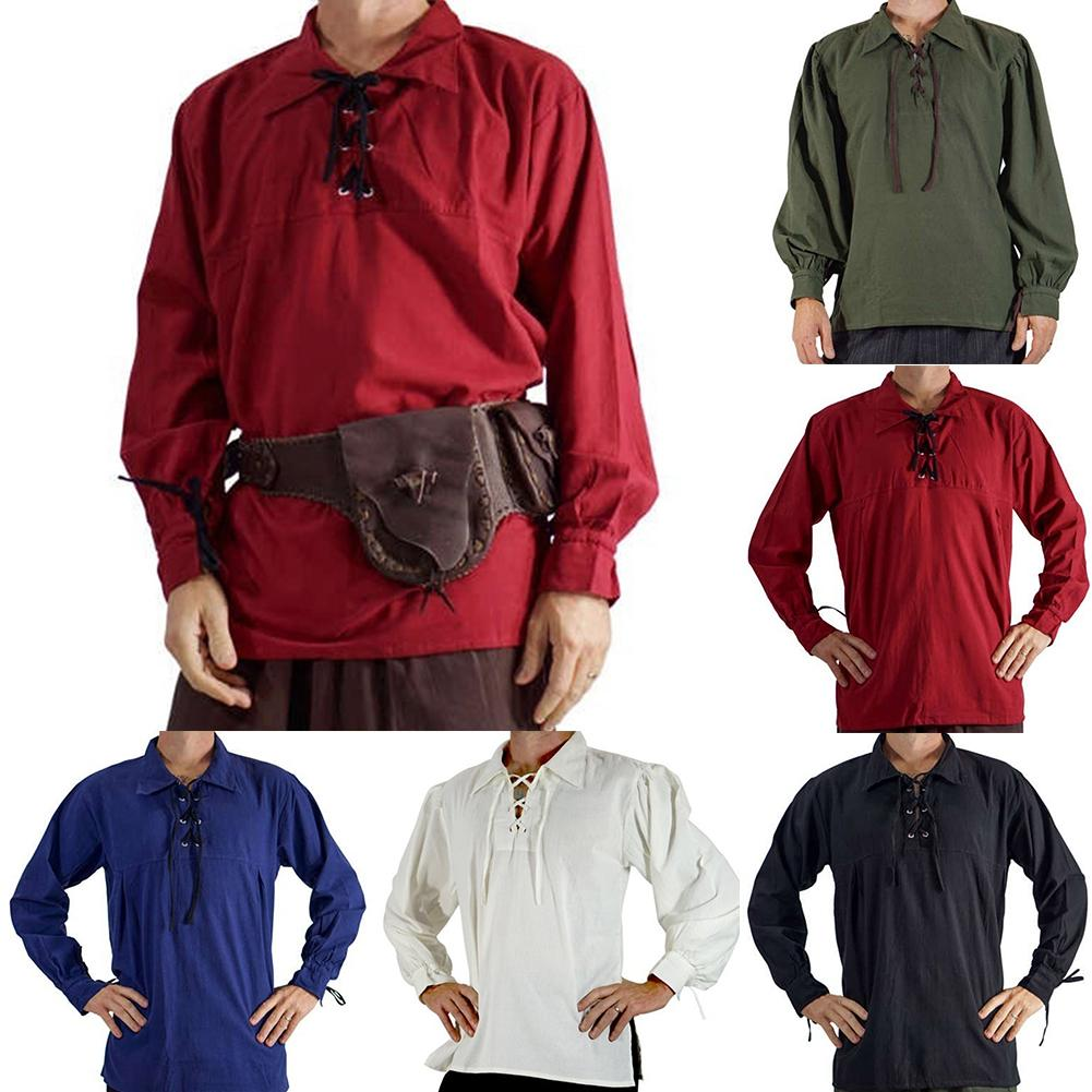 Medieval Shirt Men Autumn Solid Color Steampunk Linen Shirts Men Top Lace Up Lapel Long Sleeve Shirts Costume Mens Shirts Top