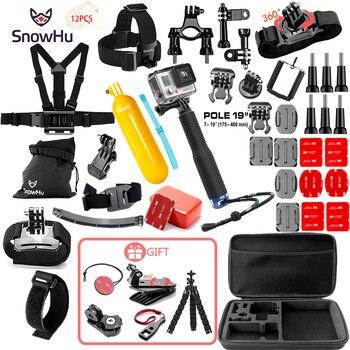 SnowHu for Gopro Accessories Set go pro hero 9 8 7 6 5 kit 3 way selfie stick Eken sjcam xiaomi yi EVA case GS21 - discount item  53% OFF Camera & Photo