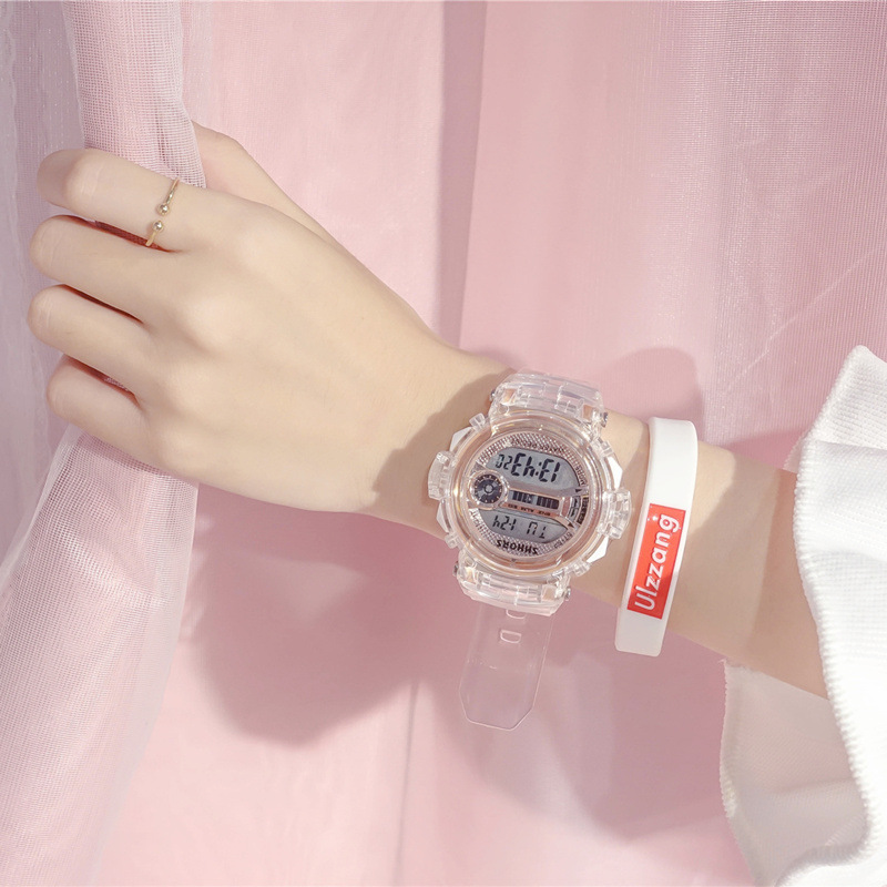 Ulzzang Trend Brand Women Transparent Digital Watch Student Sports Watch Male Simple Casual Electro Luminous Watches Men Girls
