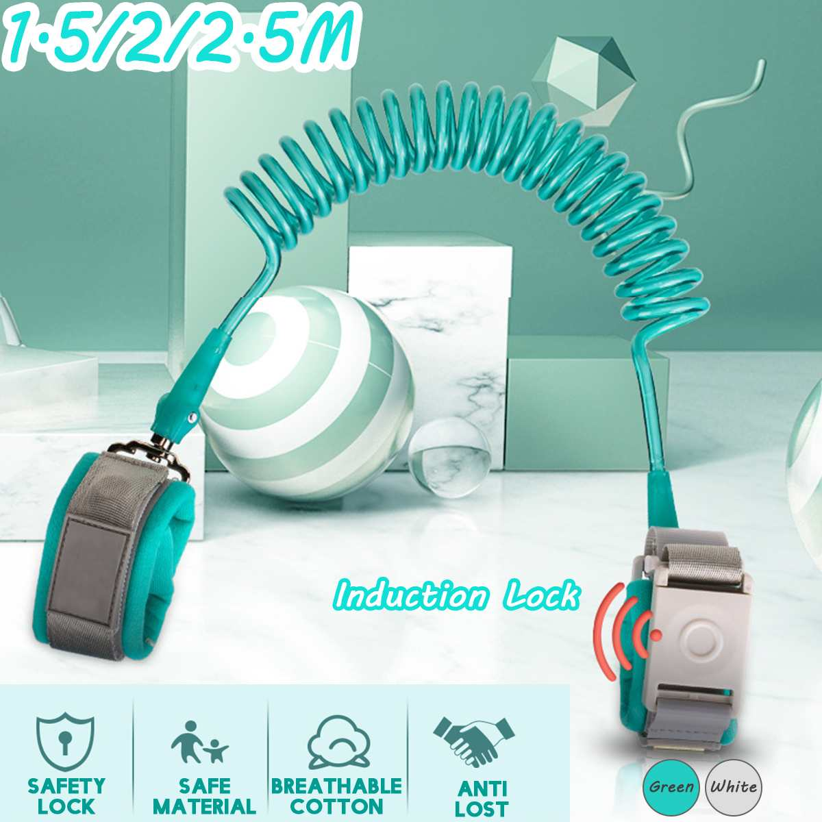 Anti Lost Wrist Link Add Induction Lock Toddler Leash Baby Walker Safety Belt Wristband Walking Strap Rope Adjustable Harness