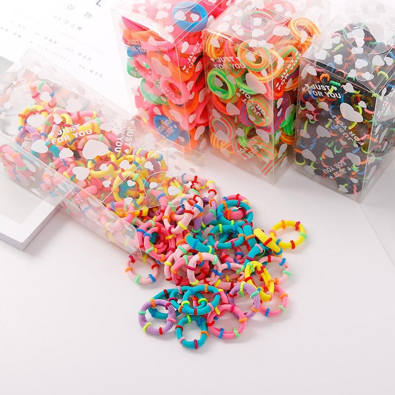 50pcs/22pcs/box Girl Colorful Nylon Hair Bands Elasticity Scrunchie Hair Bows Hair Rims Children Kids Hair Accessories Head Band
