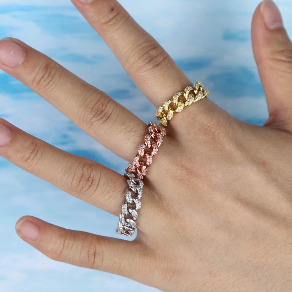 2019 złoty wypełniony moda trendy biżuteria dla kobiet Hip hop iced out bling biała cyrkonia sześcienna Miami kubański link łańcuch palec pierścień