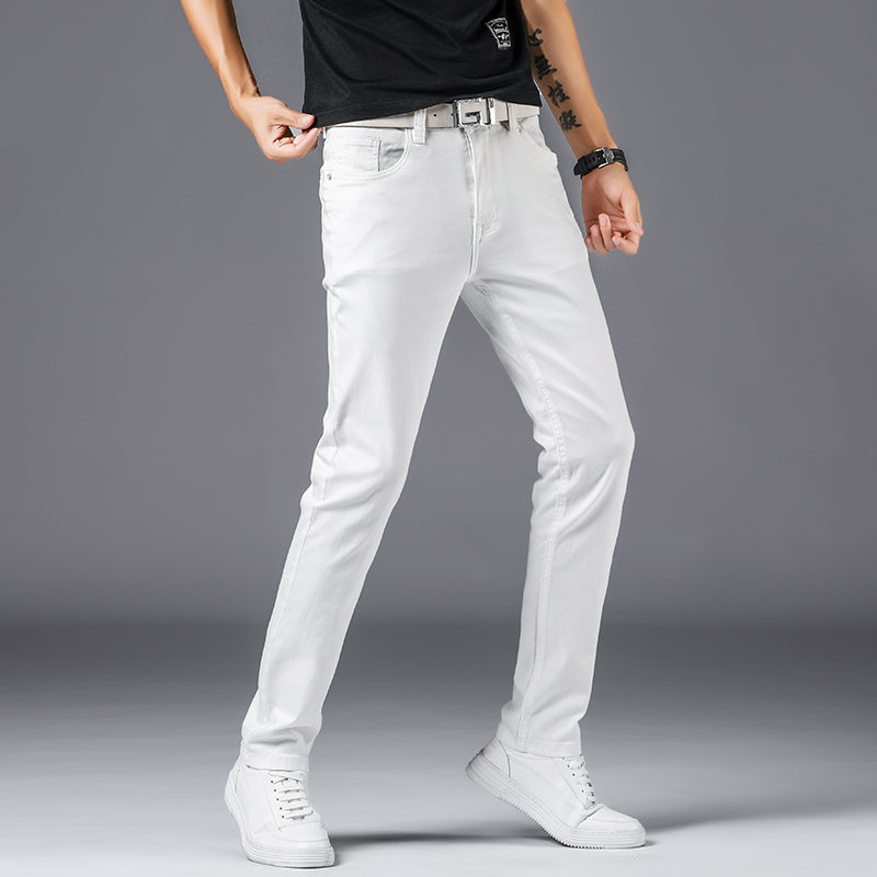 2019 Men White Cotton Slim Straight Men Casual Stretch Skinny Jeans Straight Fit Trousers White Pants Solid Colors Jeans