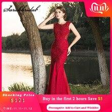 Женское длинное платье с кристаллами, Бордовое платье в арабском стиле, элегантное вечернее платье Русалка для выпускного вечера, с бисером, L5491