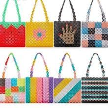 Ins popular bolsa de arco íris, bolsa de mão de arco íris, tecido à mão, celebridade, europa, estados unidos, design exclusivo, colorido, para senhoras, bolsa de festa