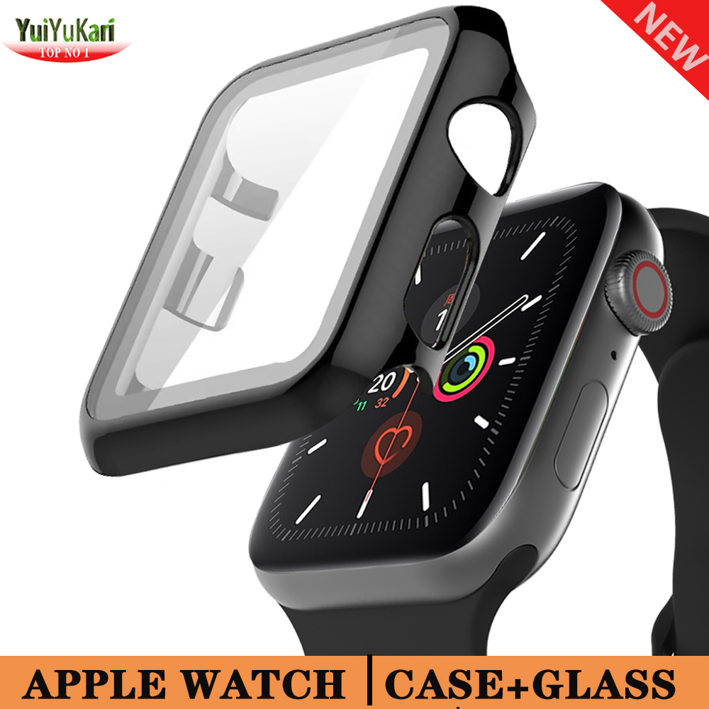 Glass+cover For Apple Watch case 44mm 40mm iWatch series 6 5 4 3 42mm 38mm protective bracelet for apple watch Accessories 44 mm