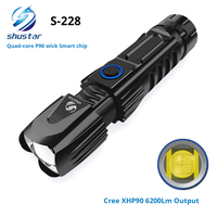 S228 LED Flashlight With XHP90 Lamp bead High power 6200LM Tactical waterproof Torch Smart chip control With bottom attack cone