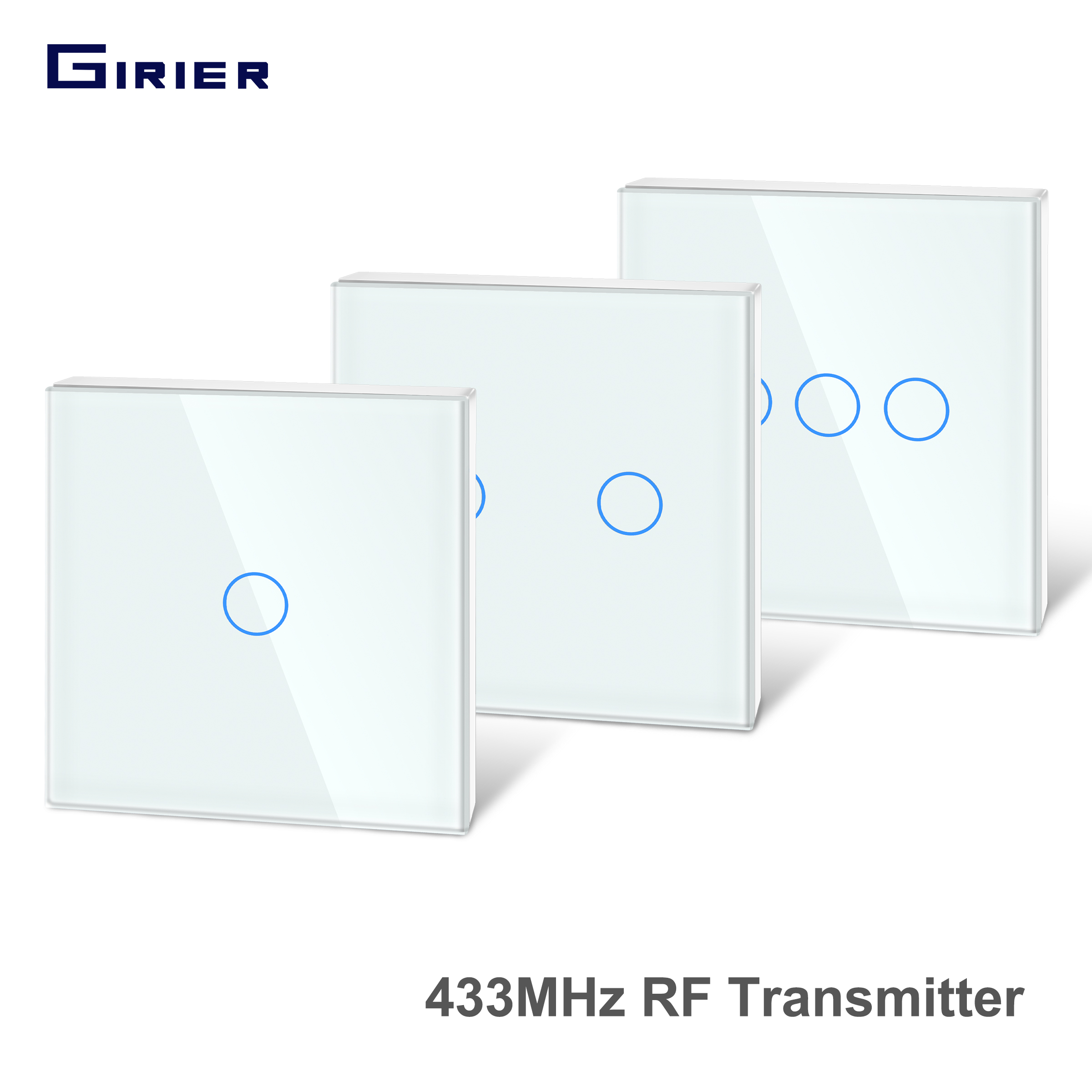 Girier 433Mhz RF Touch Remote Controller Tempered Glass Panel Wireless Wall RF Transmitter 1 2 3 Gang Works with 433Mhz Receiver