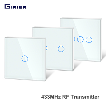 Girier 433Mhz RF Touch Remote Controller Tempered Glass Panel Wireless Wall RF Transmitter 1/2/3 Gang Works with 433Mhz Receiver