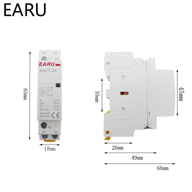 H4d4c7bb22f3a47f48aec48e88c3528af1 - EACT-25Z DC 12V 24V 2P 16A 25A 1NO 1NC 2NO 2NC Contact Din Rail Household DC Modular Contactor Switch for Smart Home House Hotel