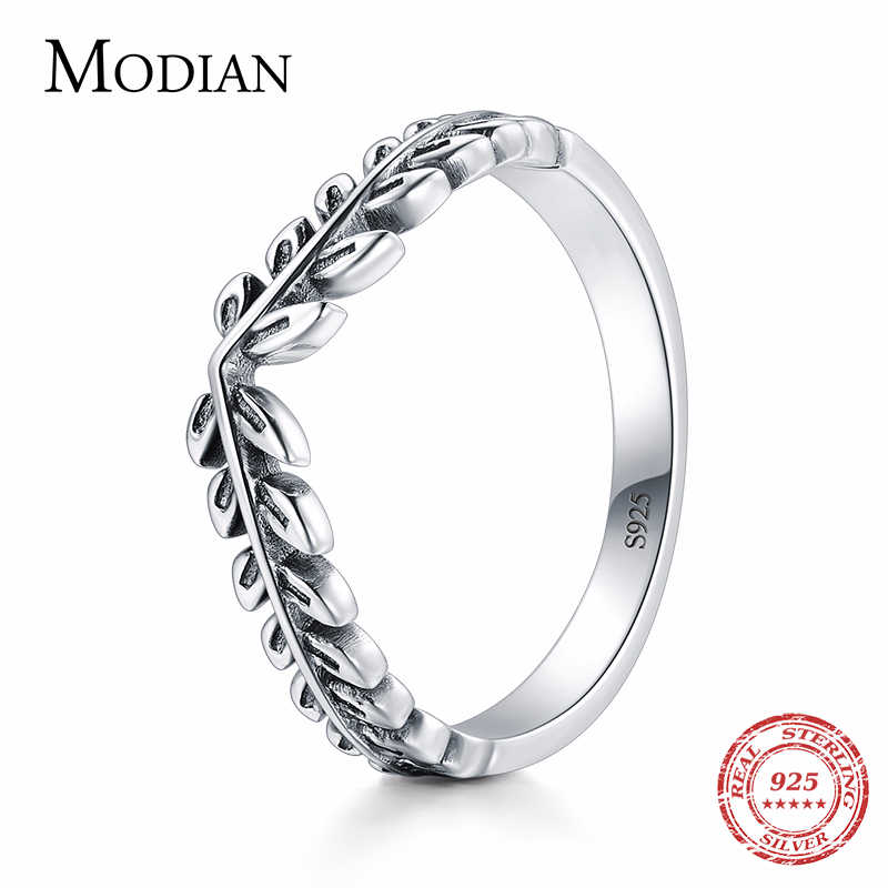 Modian 100% Genuine 925 Sterling Silver Classic Stackable Vintage Lucky Tree Leaf Finger Ring For Women Anniversary Jewelry Gift