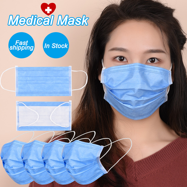 20Pcs/Pack Disposable mask 3-Layer Non-woven Surgical mask Anti Dust mask Medical mask Flu Hygiene face mask as KN95