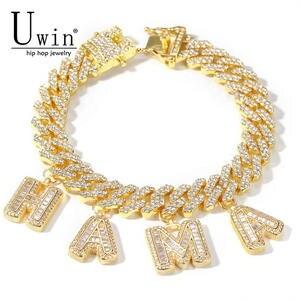 Uwin Bracelet Jewelry Cuban-Link Rhinestone Punk Miami Baguette-Letters Custom Hip-Hop