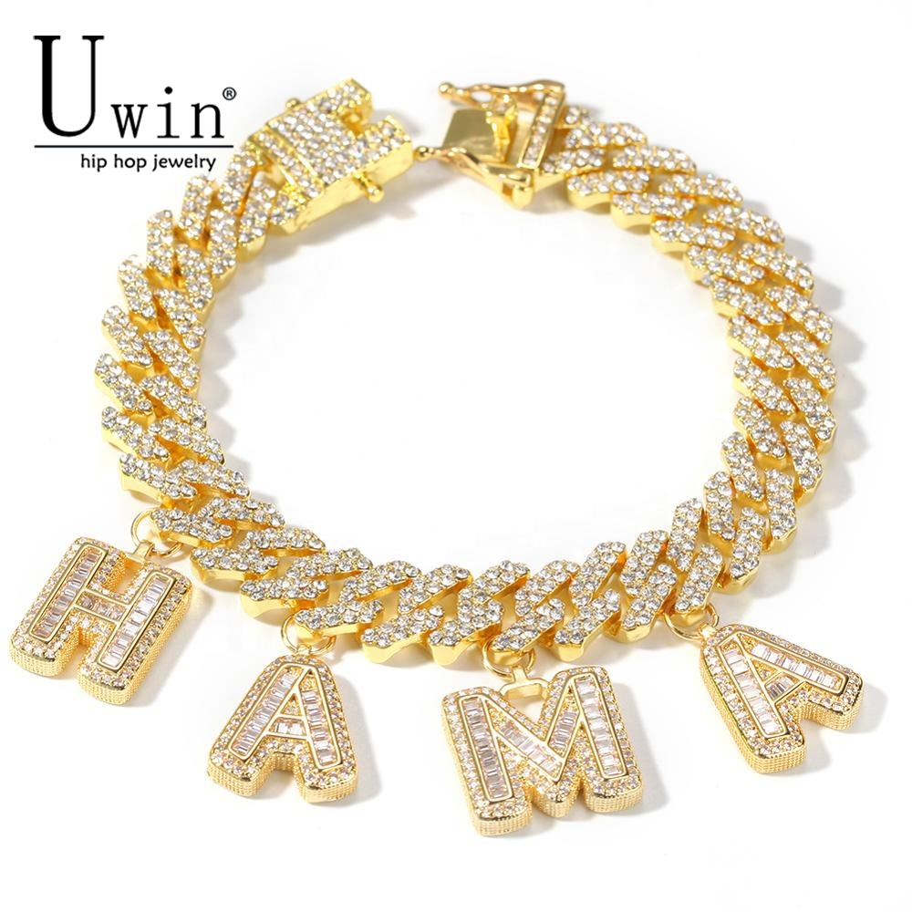 Uwin Custom S-Link Miami Cuban Link With Baguette Letters Rhinestone 12mm Bracelet Punk Hip Hop Bling Bling Hip Hop Jewelry