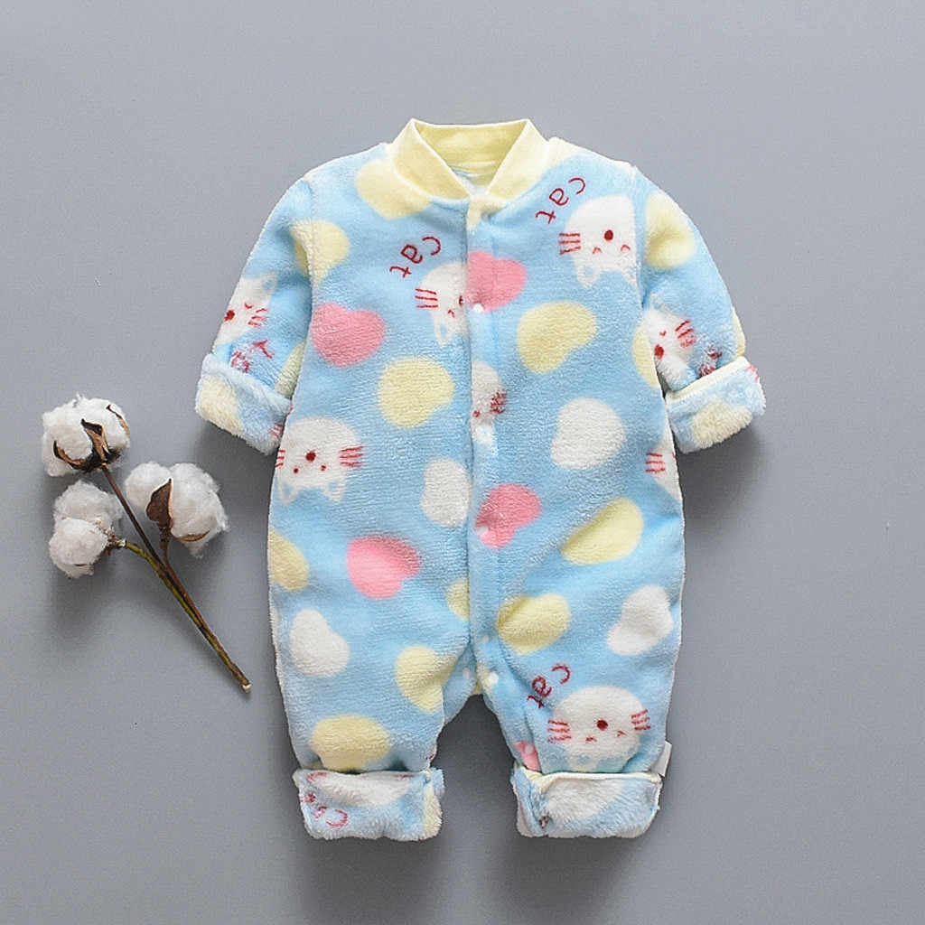 الوليد الرضع طفل رومبير الاطفال الملابس الكرتون الدب الصوف الدافئة رومبير بذلة طفل صبي الفتيات الشتاء لينة بذلة القماش 0-18 متر