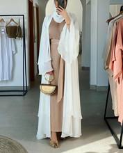 Ramadan Open Abaya Dubai Turkey Eid Mubarak Muslim Abayas for Women Plain Solid Hijab Dress Islam Caftan Moroccan Kaftan Robe