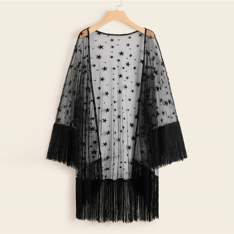 Plus Size Bohemia Fringe Hem Sheer Star Mesh Kimono 2019 Women Spring Summer Black Boho Sleeve