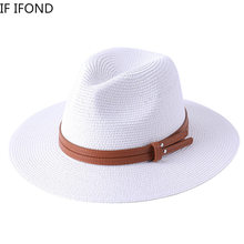 New Natural Panama Soft Shaped Straw Hat Summer Women/Men Wide Brim Beach Sun Cap UV Protection Fedora Hat