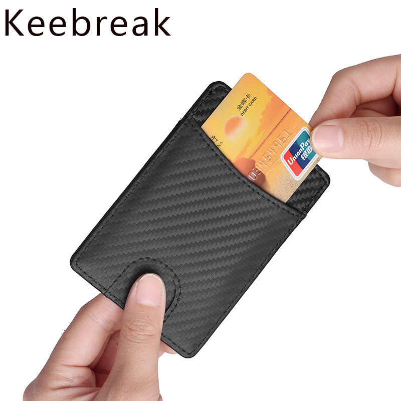 KEEBREAK RFID antimagnetic carbon fiber card holder leather wallet card pocket thin slim minimalist id credit cardholder purses
