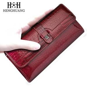 Image 4 - HH 여성 롱 지갑 정품 가죽 지갑 레드 Aligator 패턴 쇠가죽 채찍 지갑 세 배 대용량 클러치 지갑 럭셔리