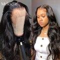 Melodie 26 28 30 32 дюйма телесная волна 13X4 кружевной передний парик из человеческих волос бразильские волосы девственные предварительно выщипанн...
