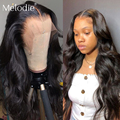 Melodie 26 28 30 32 дюйма телесная волна 13X4 кружевной передний парик бразильские человеческие волосы Remy Предварительно выщипанные 360 фронтальная в...