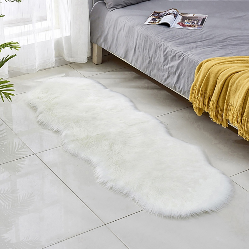 Soft Faux Fur Area Rug Carpets Living Room Bedroom Long Plush Oval Carpet Nordic Style Long Plush Carpet Floor Mat Home Decor