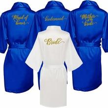 Royal blu abito sposa in raso kimono accappatoio sorella della sposa di stampa delle donne di cerimonia nuziale della damigella donore festa nuziale abiti