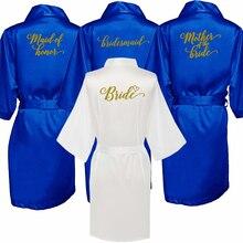 Royal blue robe braut satin kimono robe frauen hochzeit schwester der braut druck brautjungfer braut partei roben