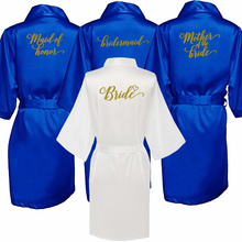 Royal blue robe bride satin kimono robe women wedding sister of the bride printing bridesmaid bridal party robes