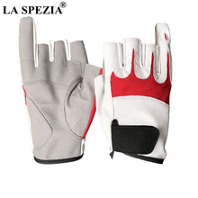 LA SPEZIA Fishing Gloves Genuine Leather Sheepskin Fingerless Patchwork Waterproof Driving Mens