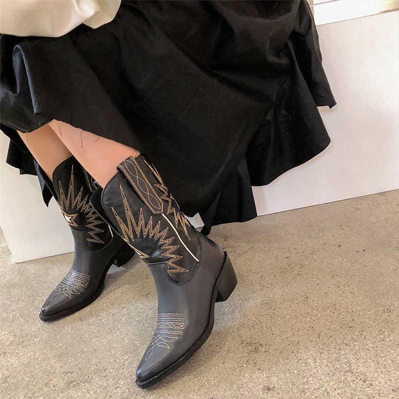 Donna-hakiki deri kadınlar orta buzağı çizmeler sivri burun yüksek topuklu Cossacks kadın ayakkabı batı kovboy kız patik beyaz siyah
