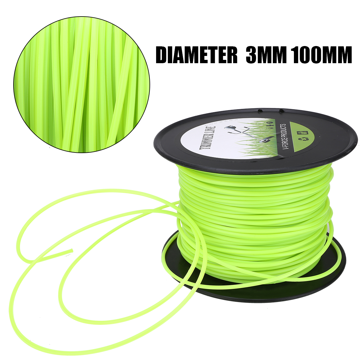 100m 3mm Lawn Mower Trimmer Line Nylon Rope Brushcutter Grass Trimmer Thread Rope Mowing Wire Cutting Mowing Tool Garden Tool