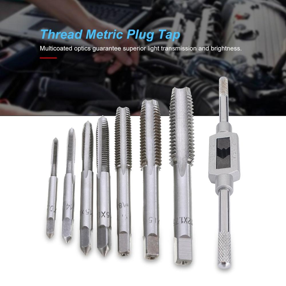 7pcs/5pcs M3-M12 Tapping Screw Thread Metric Plug Taps Machine Hand Tap Set Hand Grinding Carving Tool With Hand Tap Wrench