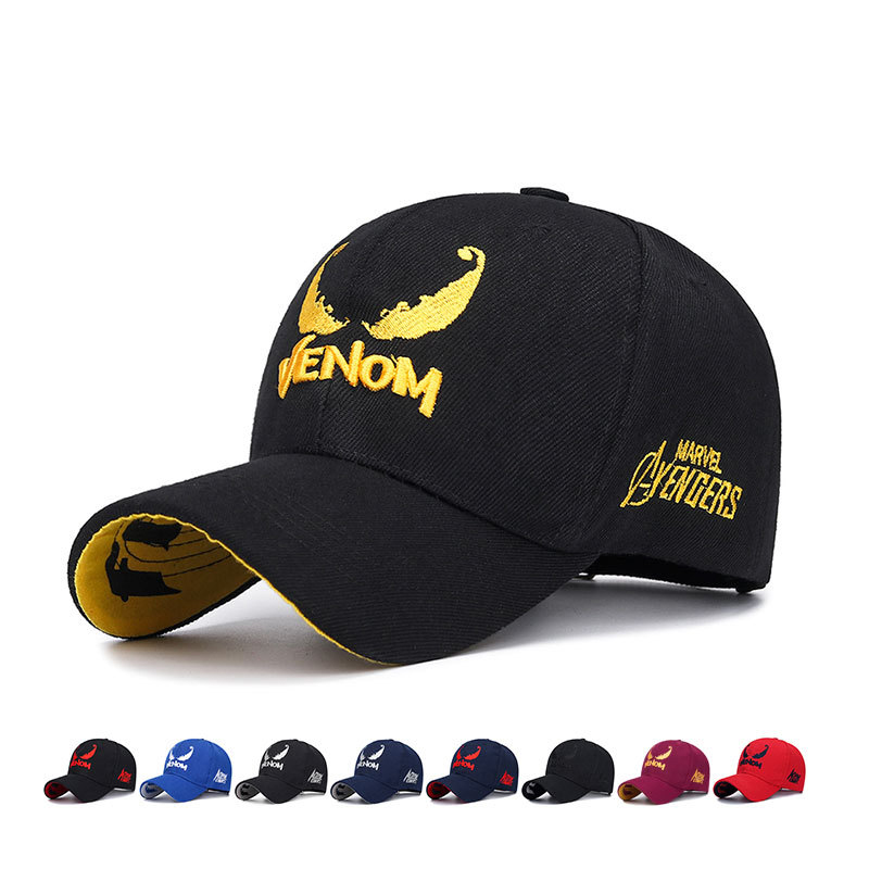 New Mens Womens Venom Embroidery Baseball Cap Couple Hip Hop Cotton Hat Fashion Golf Hats Outdoor Sports Snapback Caps Dad Hats