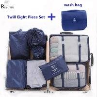 9 stück Set Reise Veranstalter Lagerung Taschen Koffer Verpackung Set Lagerung Fällen Tragbare Gepäck Organizer Kleidung Schuh Ordentlich Pouch