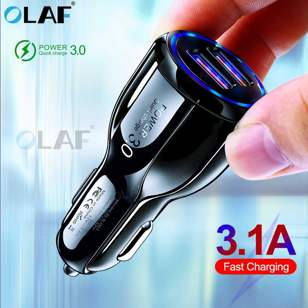 Olaf Mobil Charger untuk Pengisian Cepat 3.0 USB Charger untuk iPhone 11 Pro Max Samsung A90 A50 Hauwei mate 30 Charger Cepat