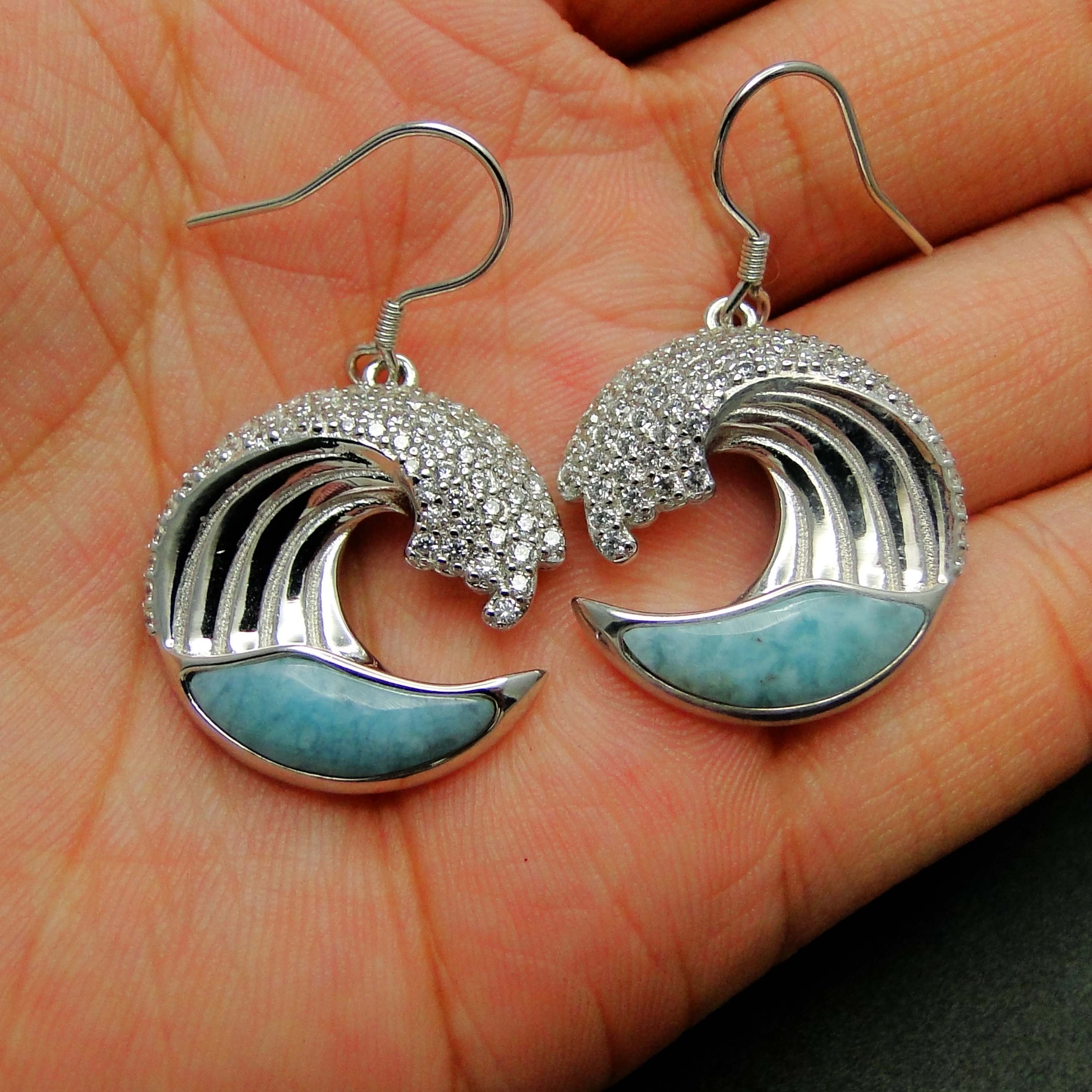 Solid 925 Sterling Silver Natural Larimar Wave Earrings Silver Drop Earrings For Women Gift