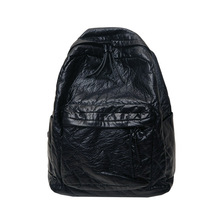 Soft Backpack Brand High Quality Washed PU Leather Large capacity Leisure Or Travel Bag  Black Overnight For Man