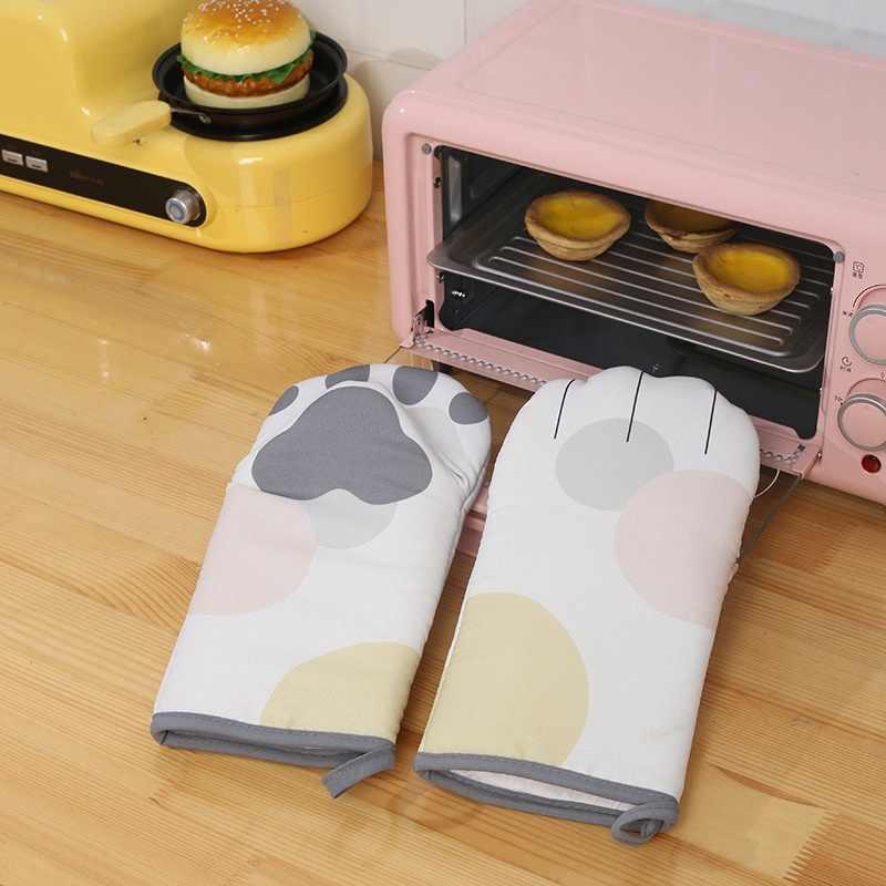 Słodki kociak łapy rękawice kuchenne 3D Cartoon pieczenia rękawice izolacyjne długa z bawełny kuchenka mikrofalowa żaroodporne antypoślizgowe rękawice kuchenne