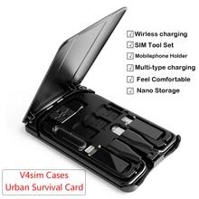Многофункциональная карта для выживания в городе, передача данных, беспроводное зарядное устройство, универсальное портативное зарядное устройство