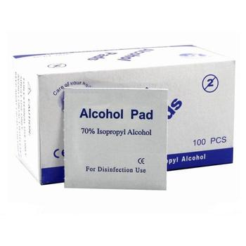 100pcs Alcohol Prep Swap Pads Antibacterial Wet Wipe Disposable Disinfection Antiseptic Skin Care Jewelry Mobile Phone Cleaning